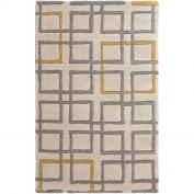 Artist Studio, ART-231, Medium Gray, Khaki, Mustard Area Rug, 100% New Zealand Wool