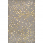 Athena, ATH-5060, Medium Gray, Taupe, Mustard Area Rug, 100% Wool