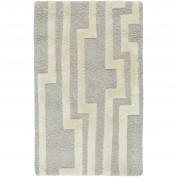 Modern Classics, CAN-2023, Medium Gray, Cream Area Rug, 100% New Zealand Wool