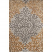 Caspian, CAS-9914, Charcoal, Taupe, Camel Area Rug, 100% New Zealand Wool