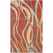 Studio, SR-109, Bright Orange, Aqua, Beige Area Rug, 100% New Zealand Wool