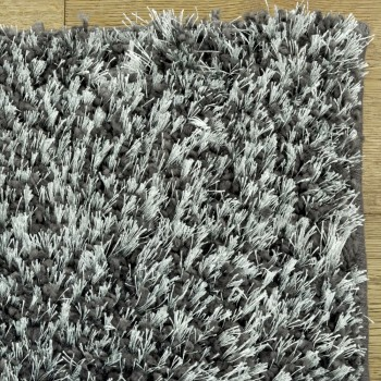 Shaggy Shimmer Charcoal Rug, 65% Polypropylene/35% Polyester